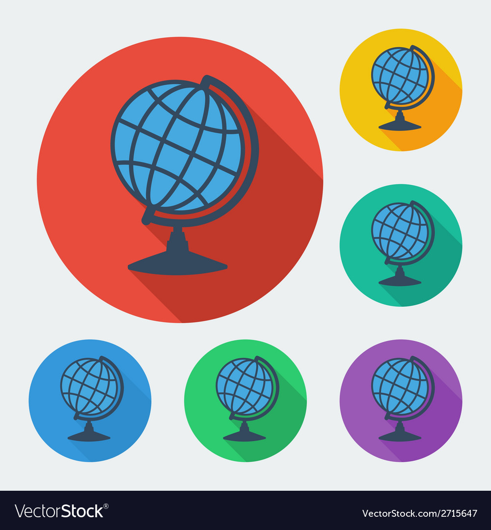 Flat style icon with long shadow six colors globe vector | Price: 1 Credit (USD $1)