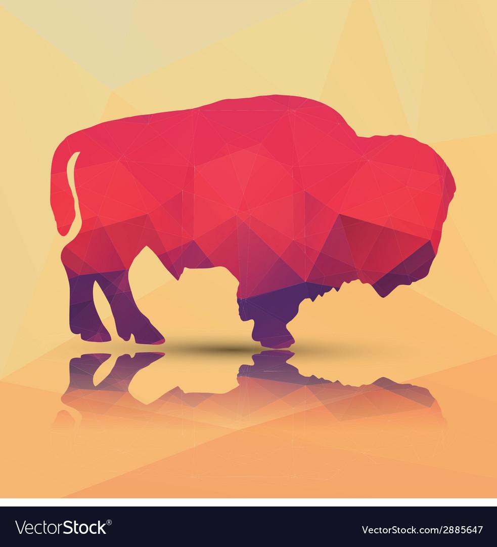 Geometric polygonal buffalo pattern design vector | Price: 1 Credit (USD $1)