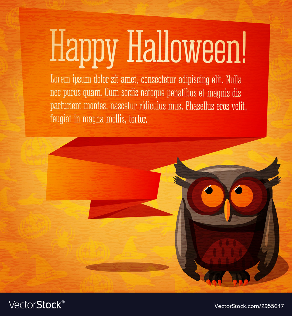 Happy halloween cute banner or greeting card on vector | Price: 1 Credit (USD $1)