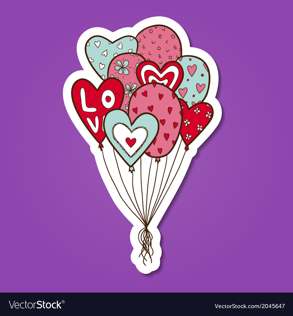 Heart air balloons batch vector | Price: 1 Credit (USD $1)