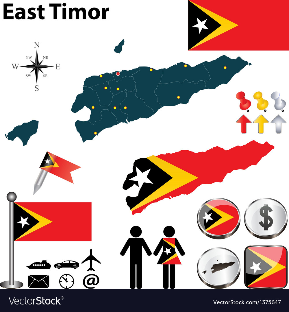 Map of east timor vector | Price: 1 Credit (USD $1)