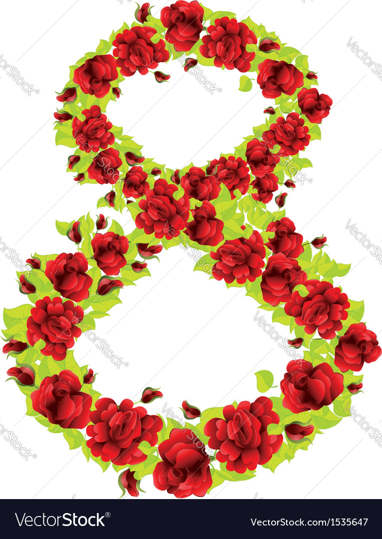 Number 8 of roses vector | Price: 1 Credit (USD $1)