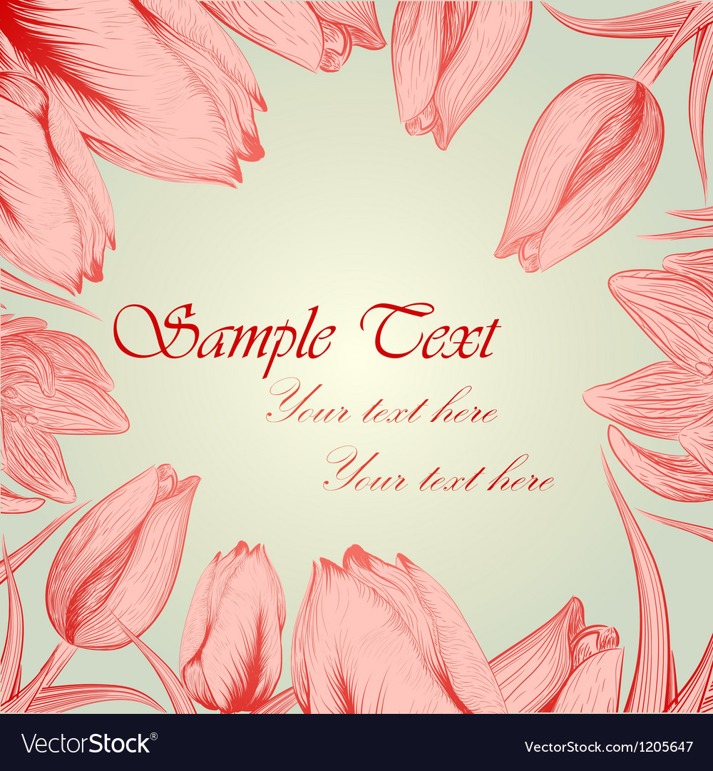 Retro floral background with handwritten tulips vector | Price: 1 Credit (USD $1)