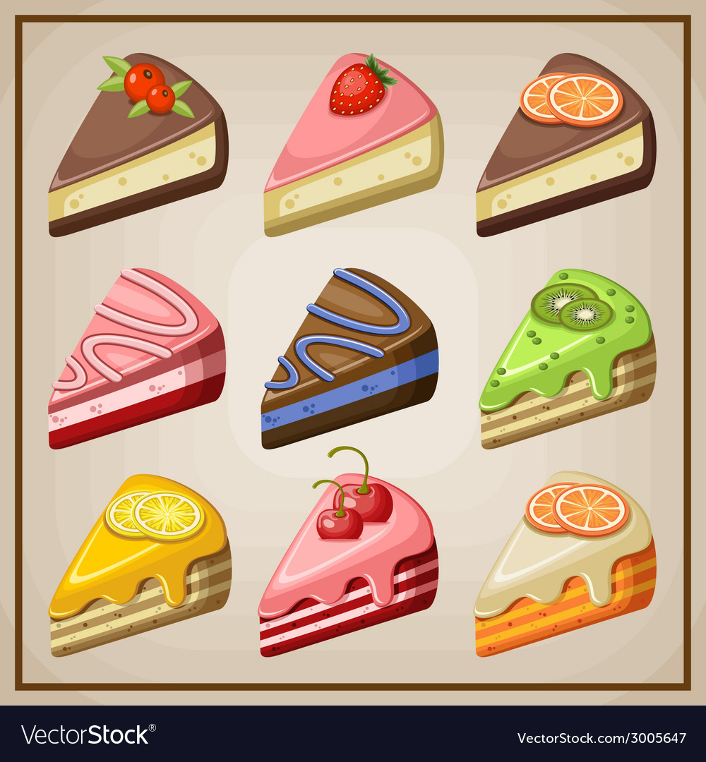 Set of cakes and cheesecakes vector | Price: 1 Credit (USD $1)