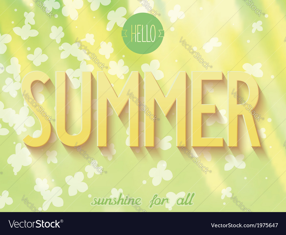 Summer inscription on nature background vector | Price: 1 Credit (USD $1)