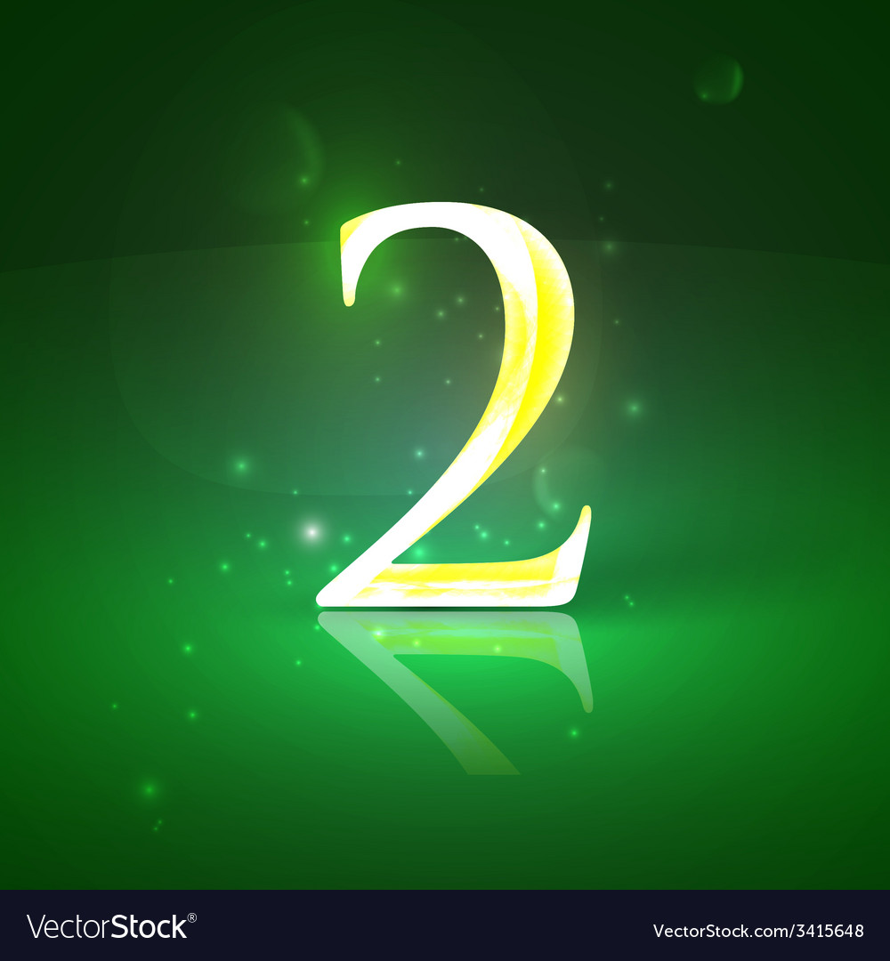 2 green glowing number two vector | Price: 1 Credit (USD $1)