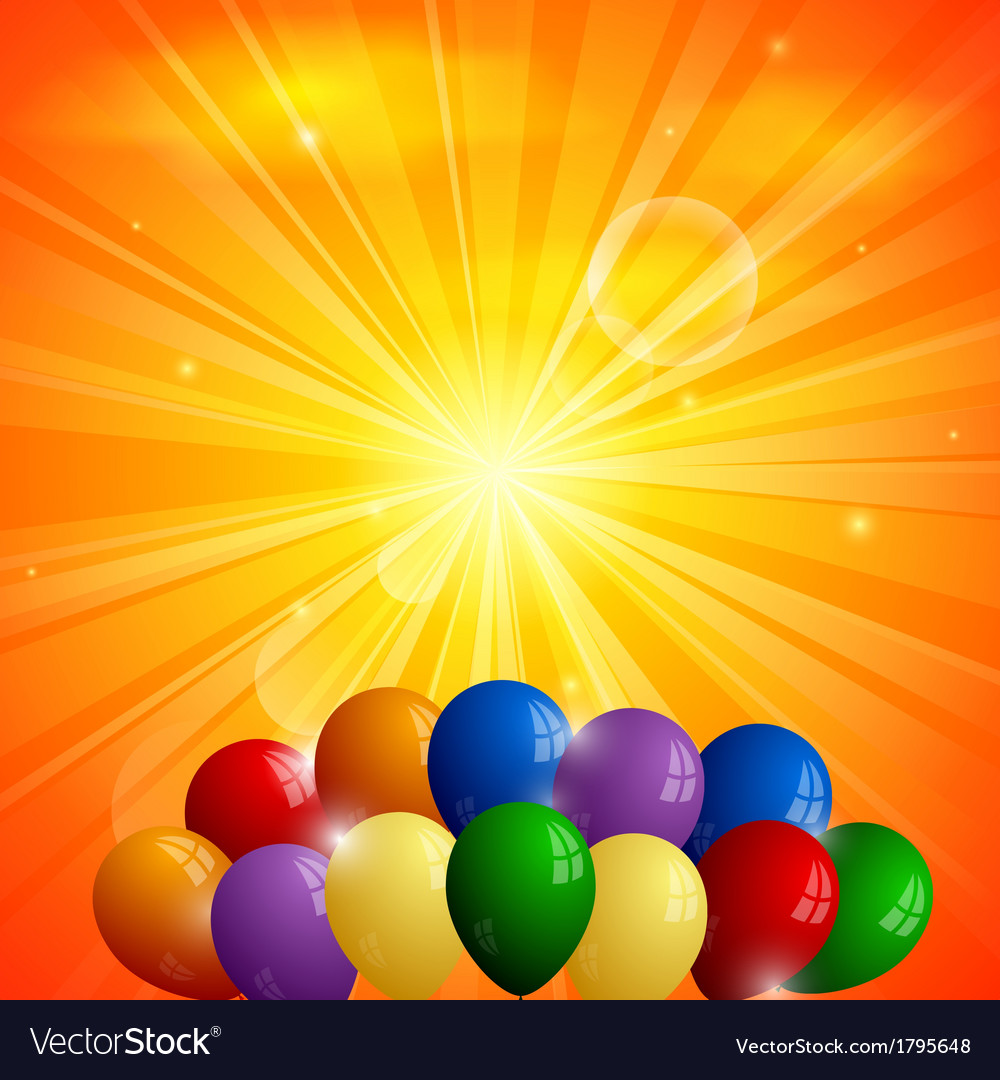 Abstract orange background with sun and balloons vector | Price: 1 Credit (USD $1)