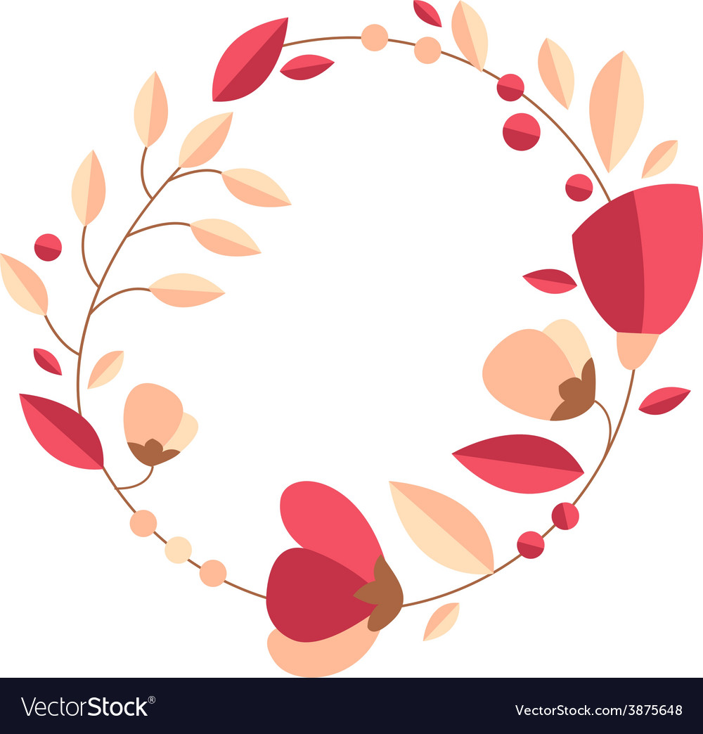 Beautiful greeting card with floral wreath bright vector | Price: 1 Credit (USD $1)