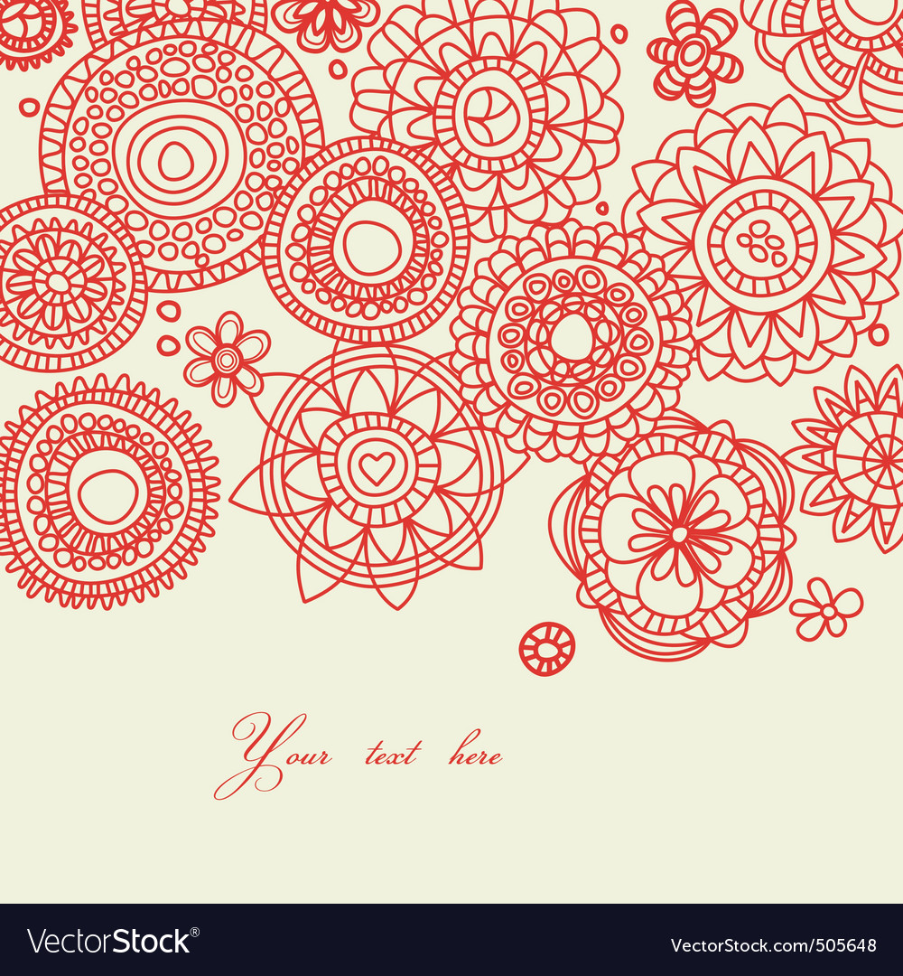 Floral line work vector | Price: 1 Credit (USD $1)