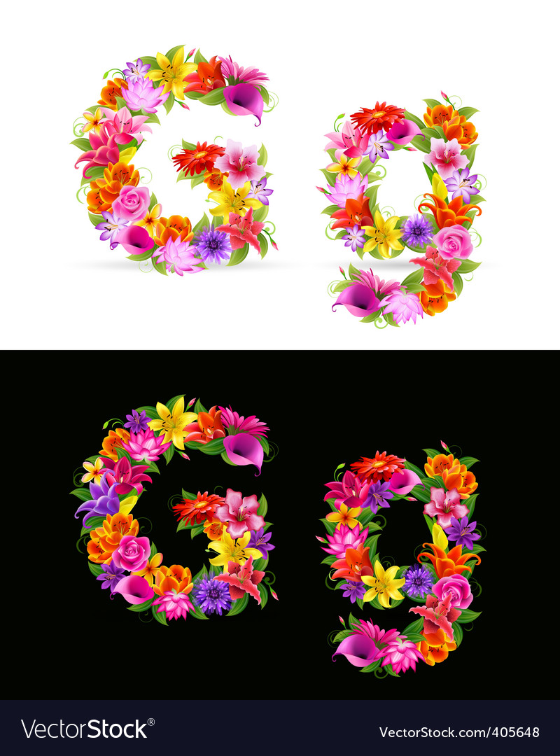Flower font vector | Price: 1 Credit (USD $1)