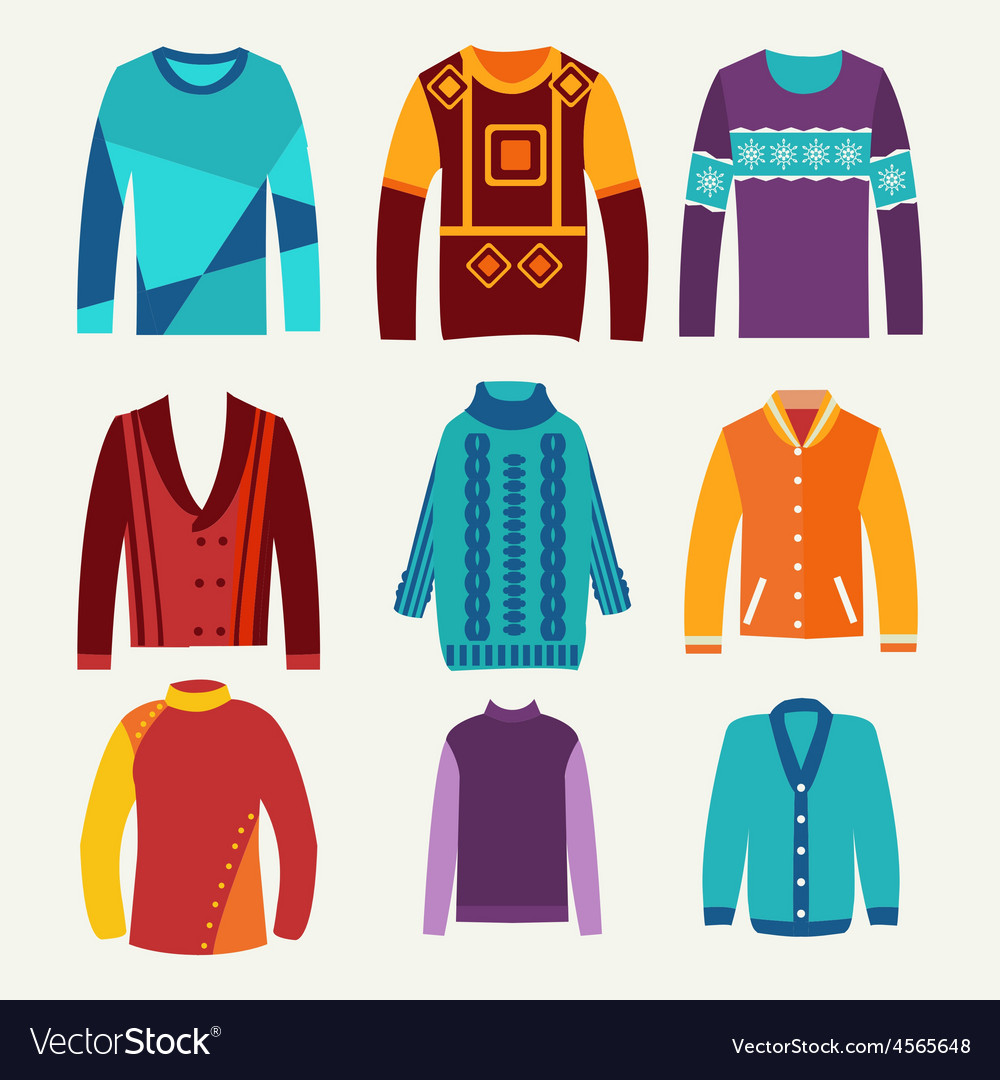 Mens knitted sweaters icon set vector   Price: 1 Credit (USD $1)