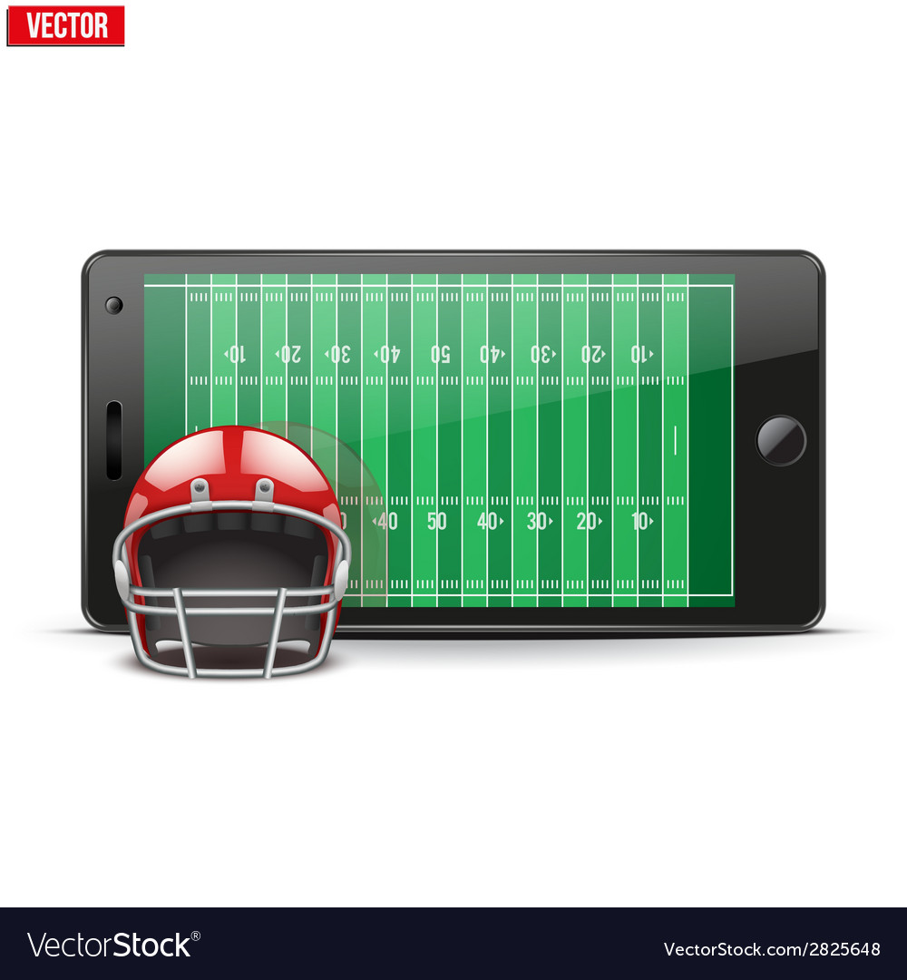 Mobile phone with football helmet and field on the vector | Price: 1 Credit (USD $1)