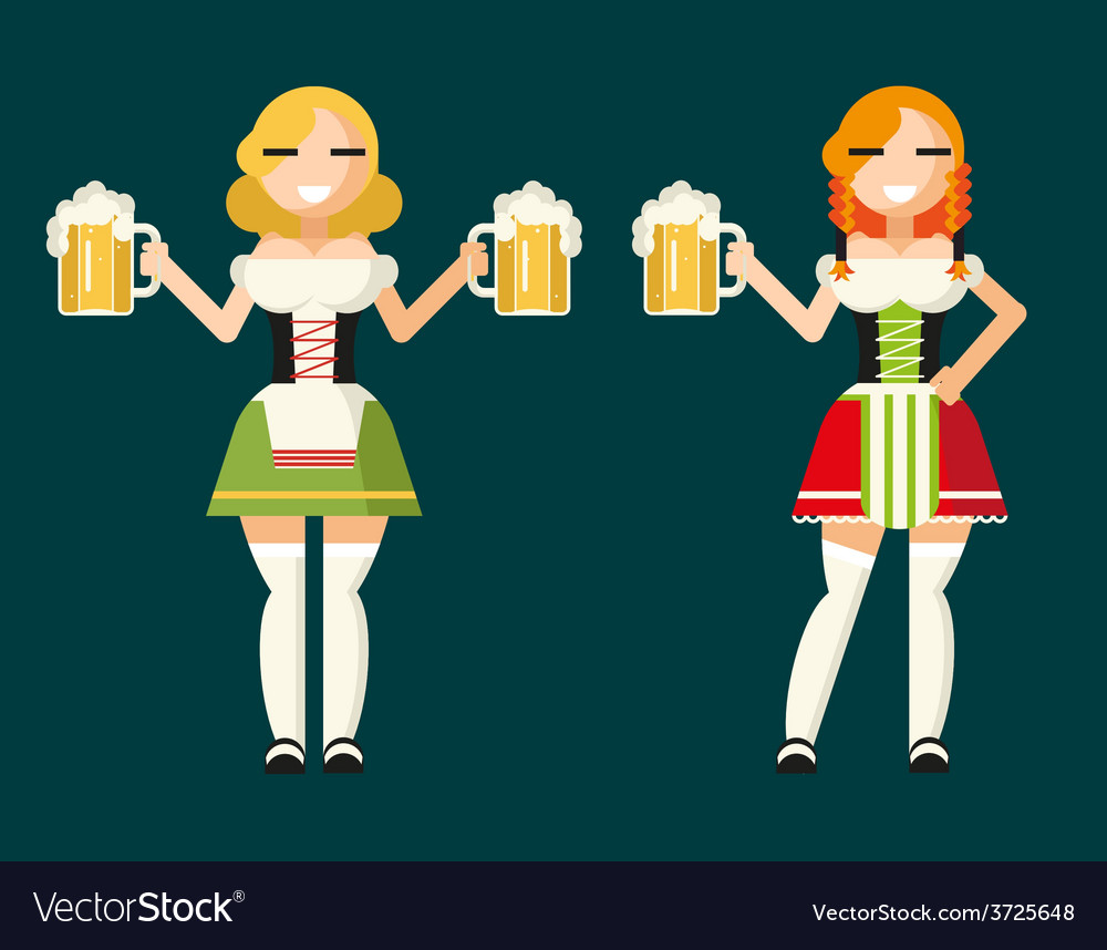 Oktoberfest girls female characters icons vector | Price: 1 Credit (USD $1)