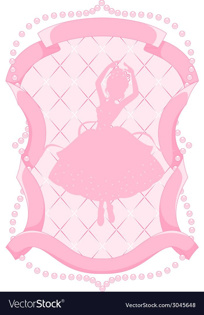 Pink frame with a ballerina vector | Price: 1 Credit (USD $1)