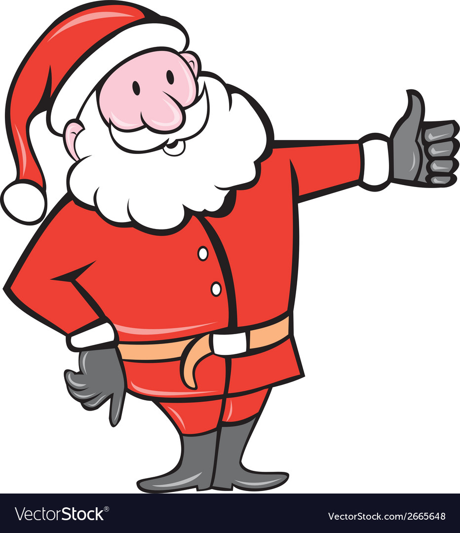 Santa claus father christmas thumbs up cartoon vector | Price: 1 Credit (USD $1)
