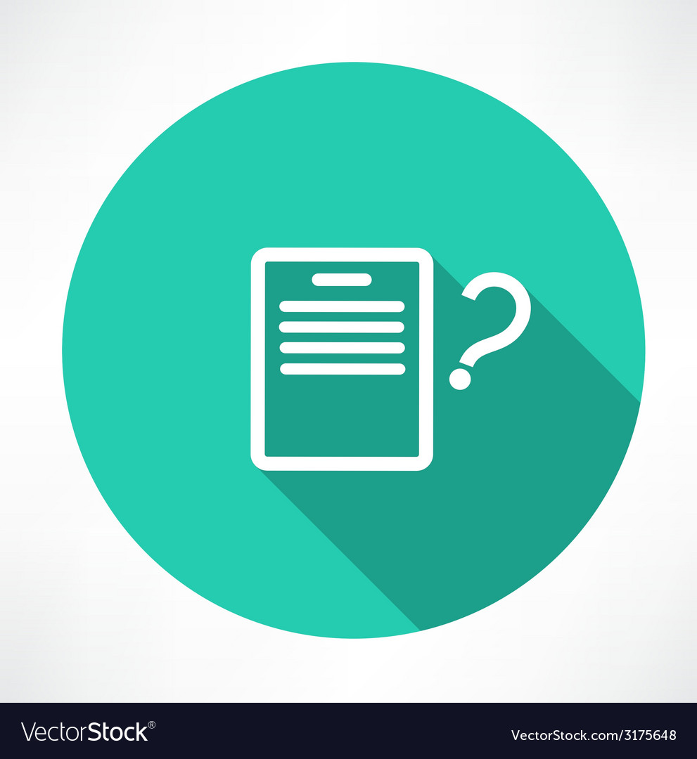 Sheet with a question mark icon vector | Price: 1 Credit (USD $1)