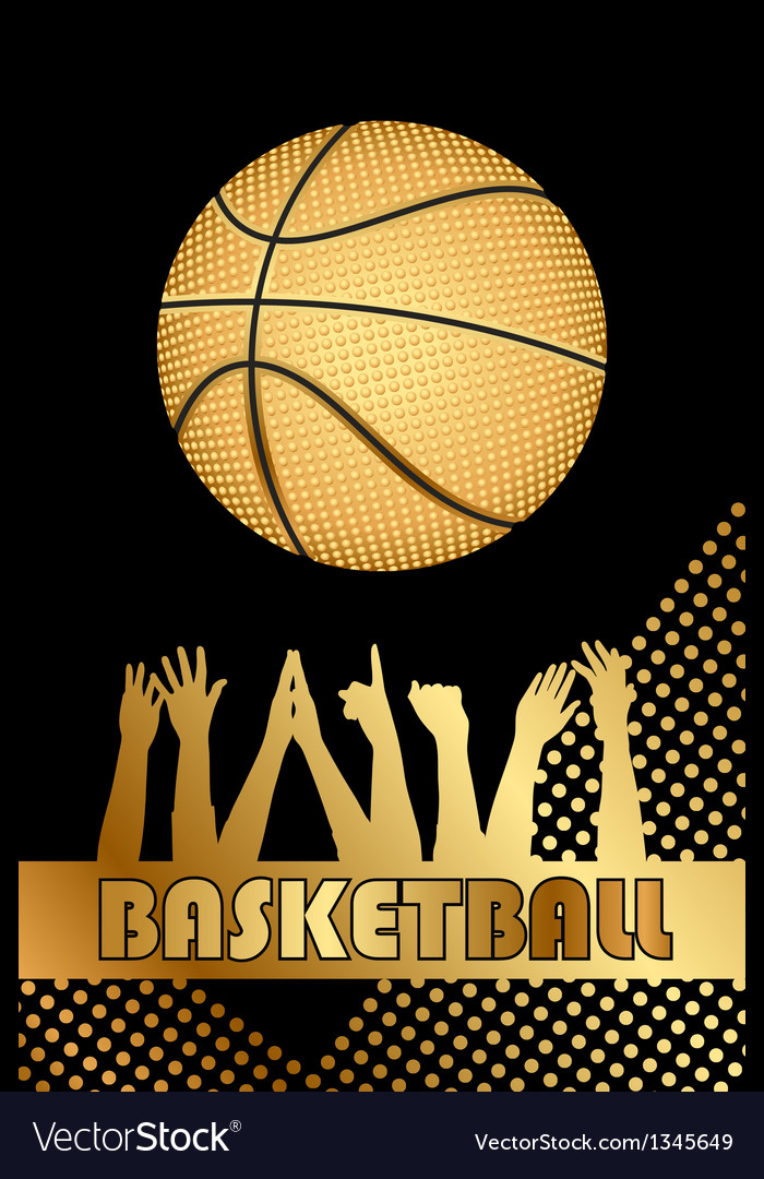 Black and gold basketball background vector | Price: 1 Credit (USD $1)