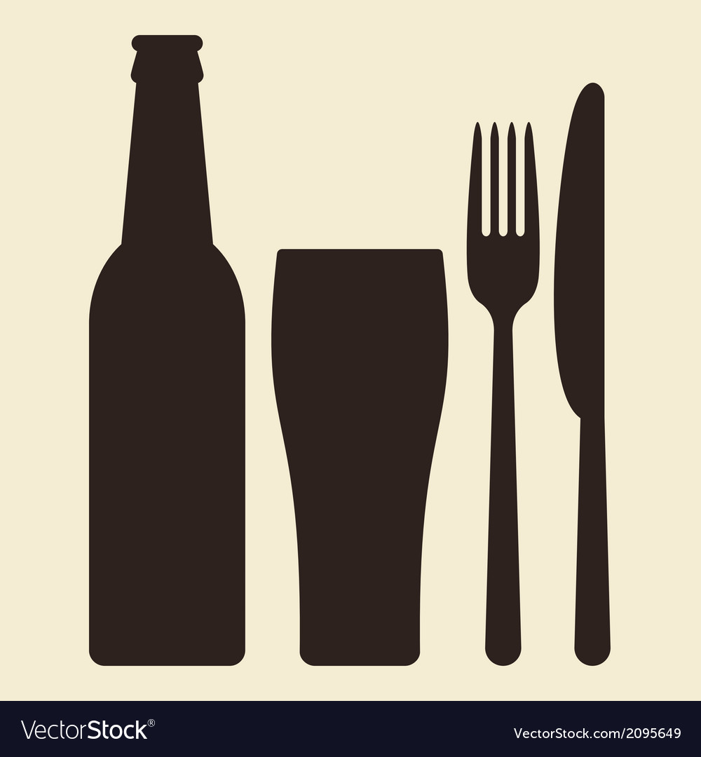 Bottle glass of beer and cutlery vector | Price: 1 Credit (USD $1)