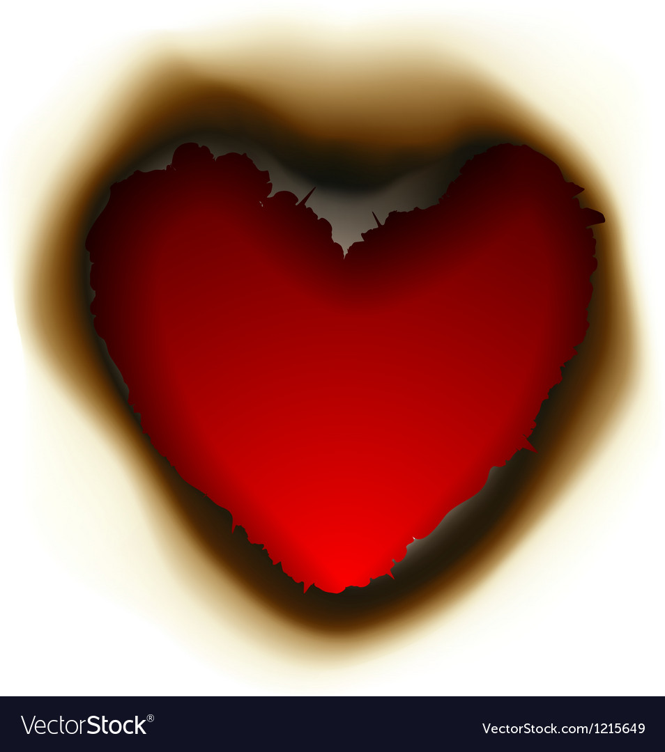 Burnt hole in shape of heart vector | Price: 1 Credit (USD $1)
