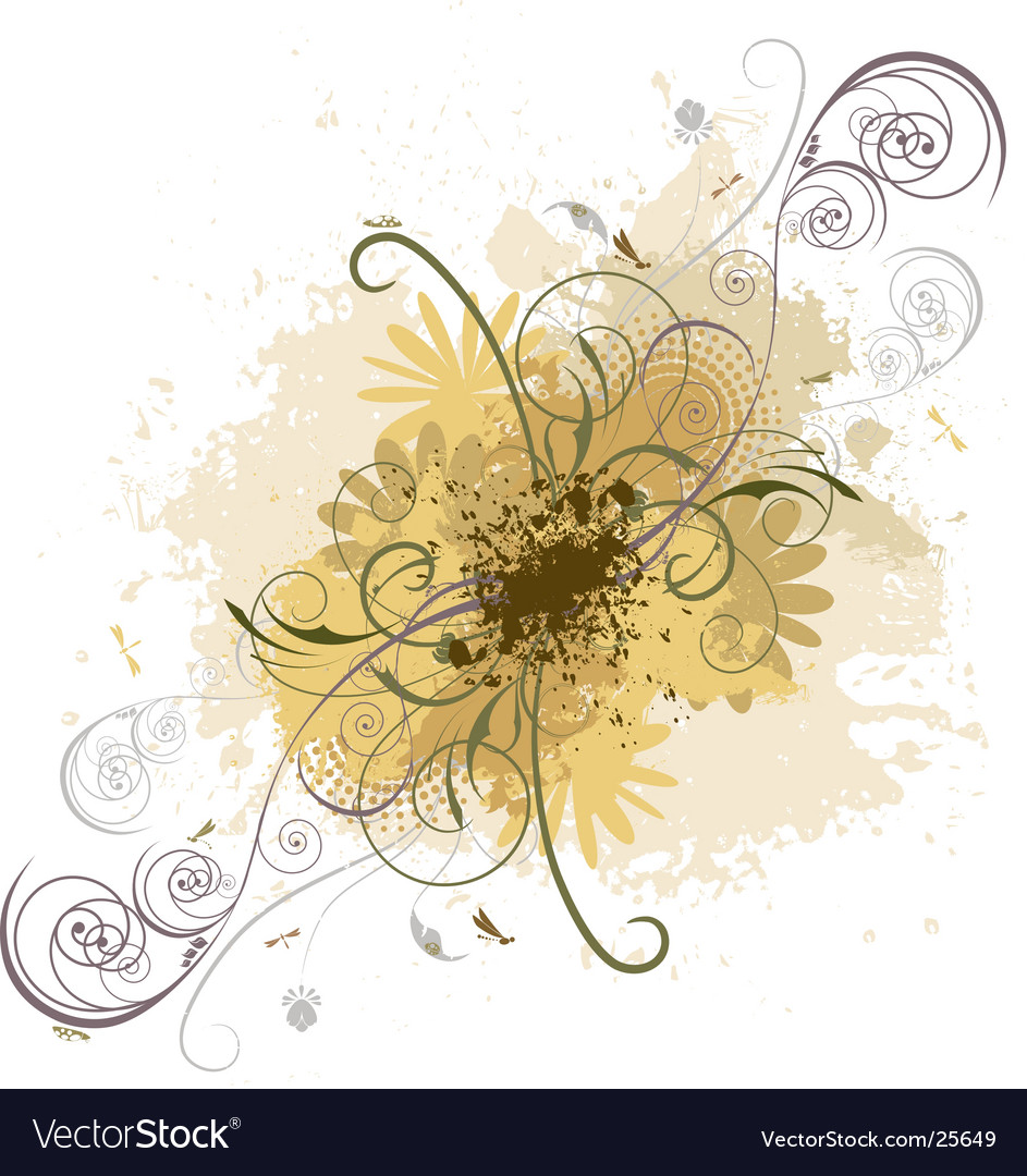 Grunge floral design vector | Price: 1 Credit (USD $1)