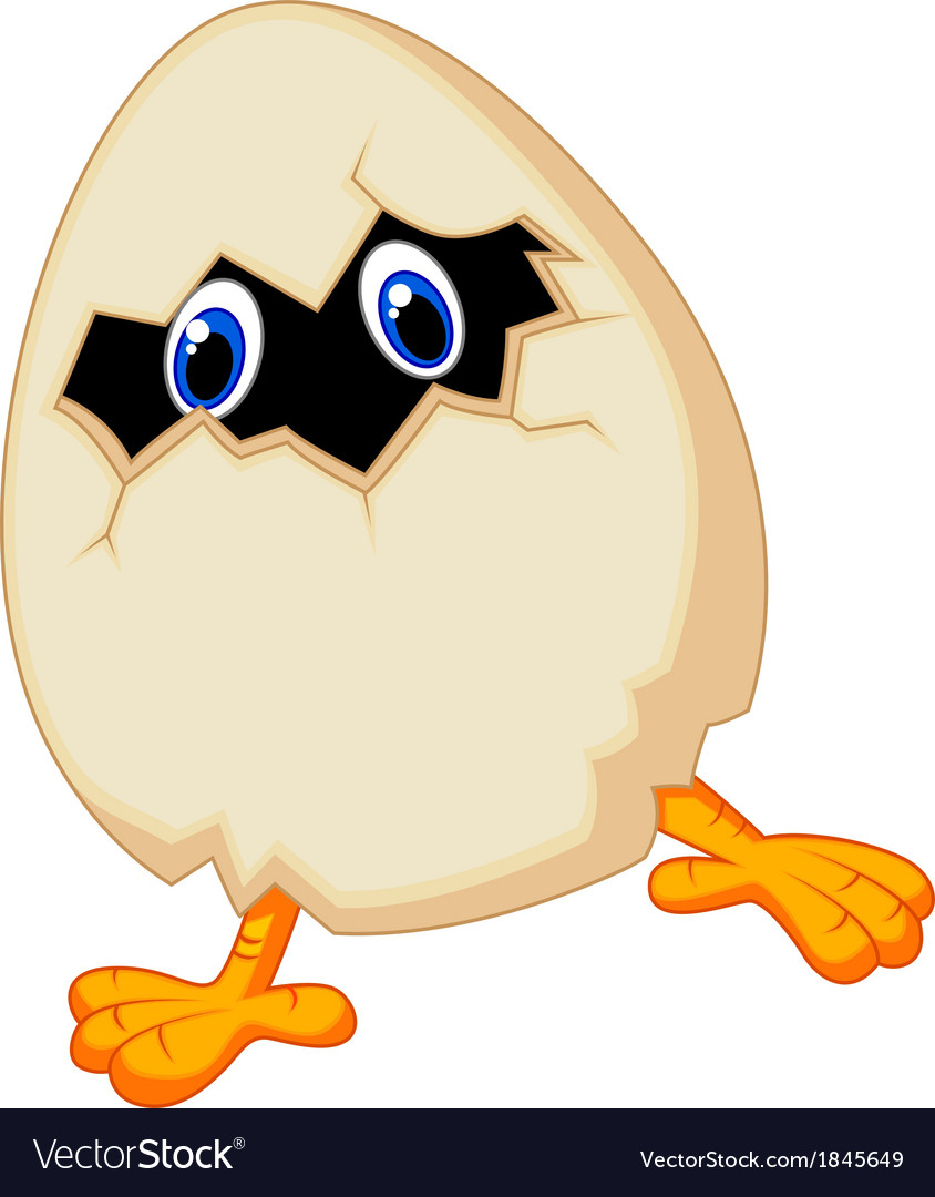 Little chicken cartoon in egg vector | Price: 1 Credit (USD $1)