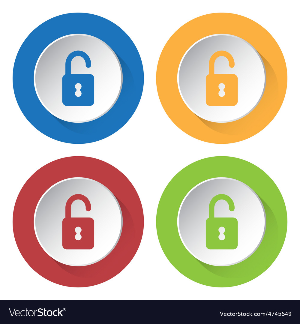 Set of four icons with open padlock vector | Price: 1 Credit (USD $1)