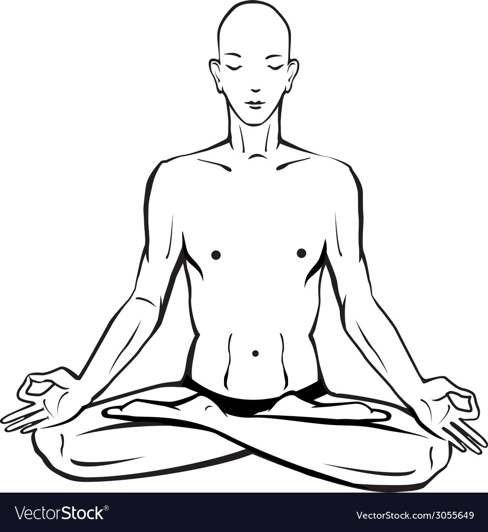 Sketch of man in meditating and doing yoga poses vector | Price: 1 Credit (USD $1)