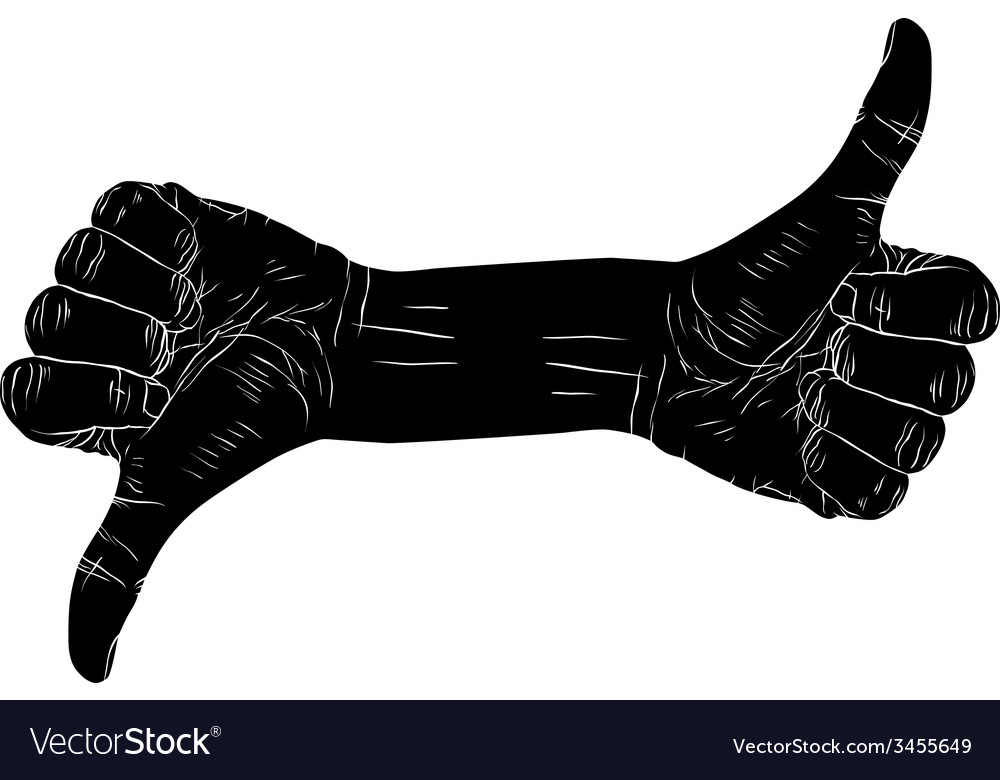 Thumb up hand sign with two hands detailed black vector | Price: 1 Credit (USD $1)