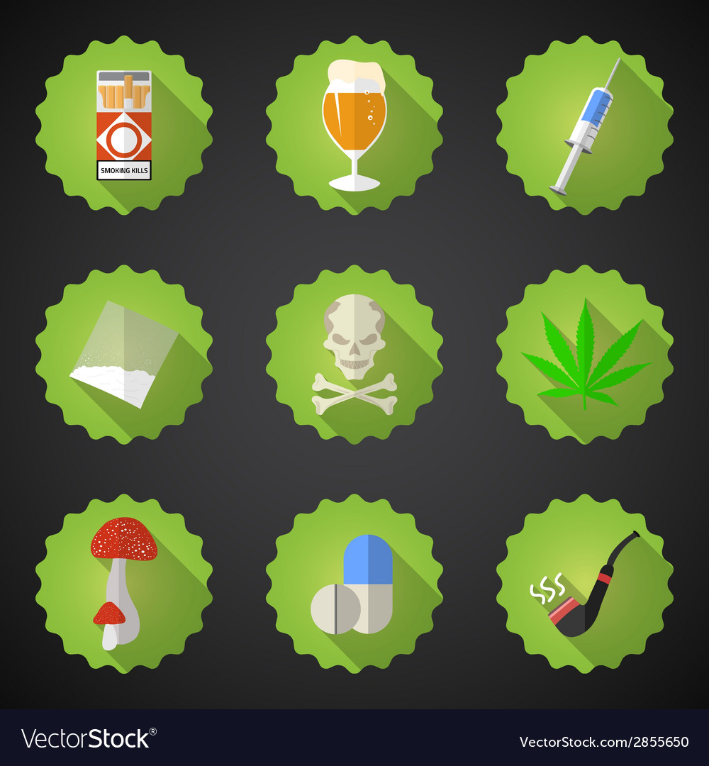 Bad habits flat icon set include beer alcohol vector | Price: 1 Credit (USD $1)