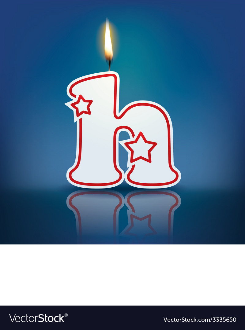 Candle letter h with flame vector | Price: 1 Credit (USD $1)