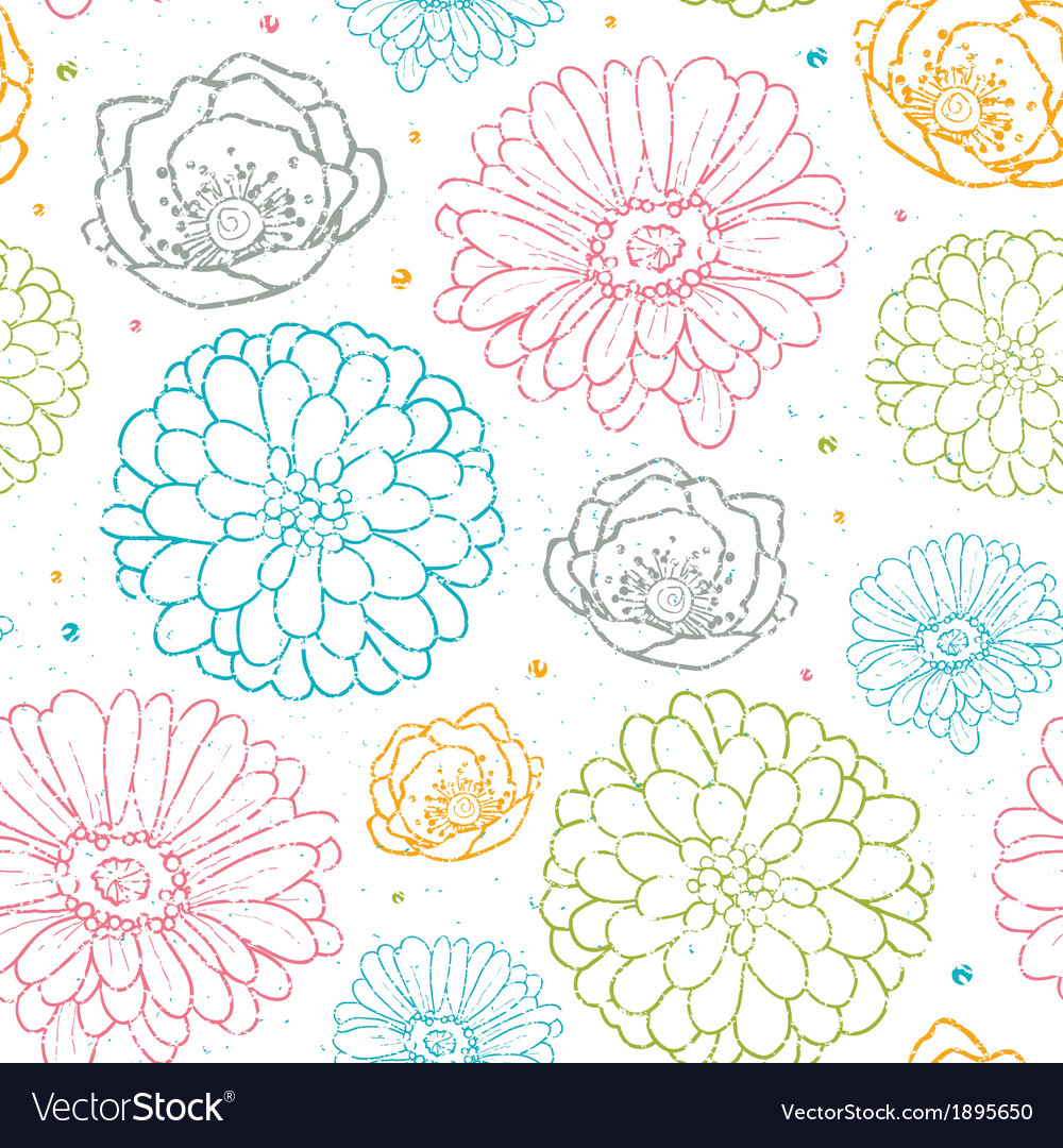 Chalk flowers colorful seamless pattern background vector | Price: 1 Credit (USD $1)