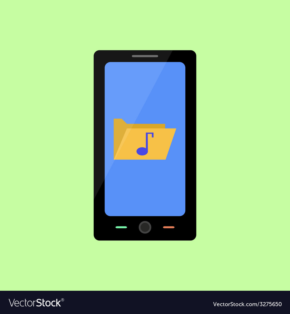 Flat style smart phone with music folder vector | Price: 1 Credit (USD $1)