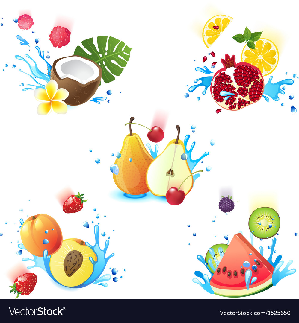 Fruits in splashes vector | Price: 3 Credit (USD $3)