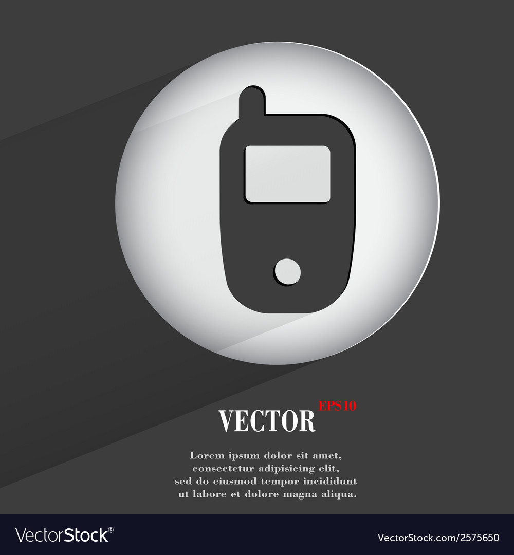 Mobile flat modern web button with long shadow and vector | Price: 1 Credit (USD $1)