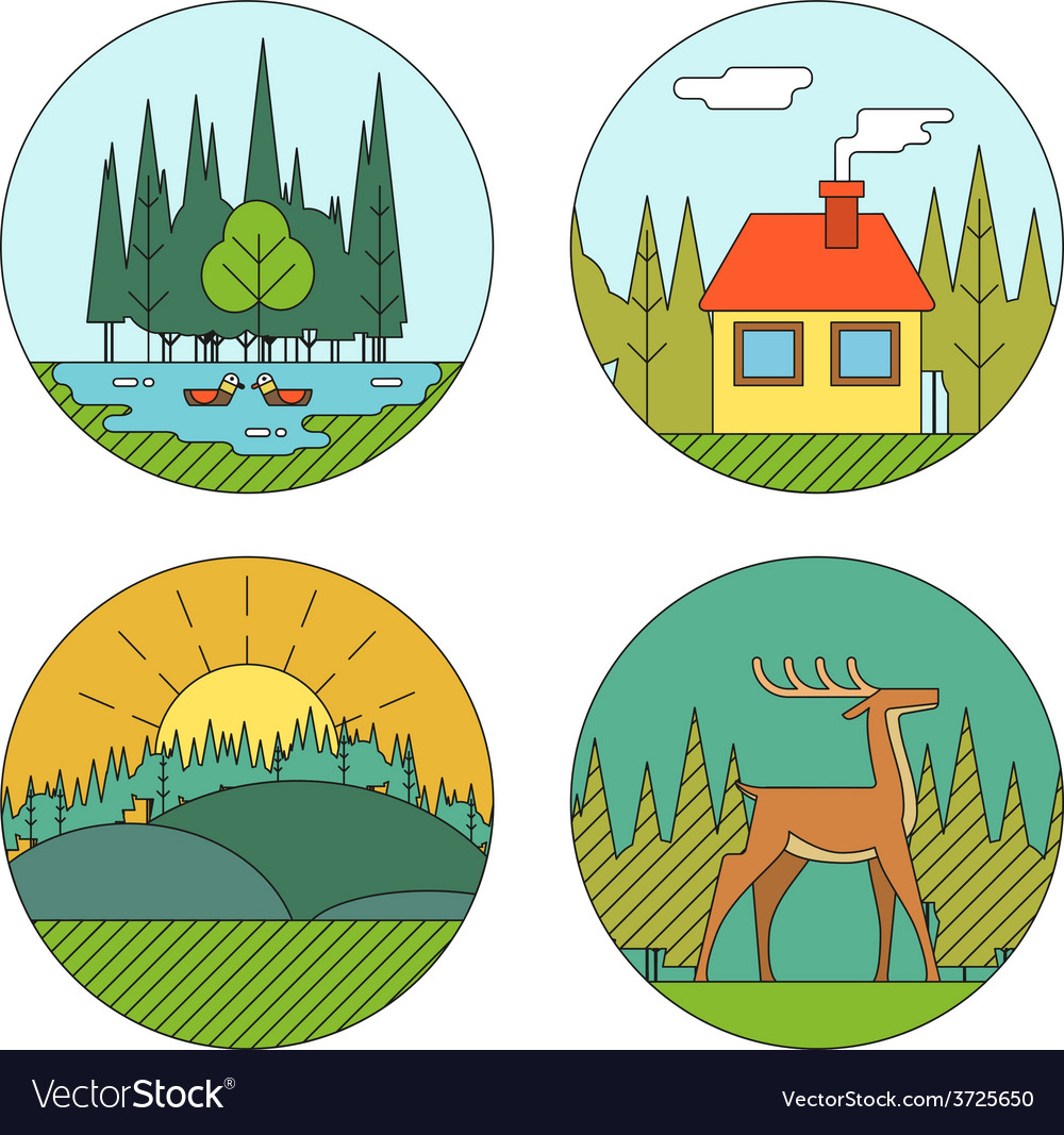 Outdoor life symbol lake forest house deer duck vector | Price: 1 Credit (USD $1)