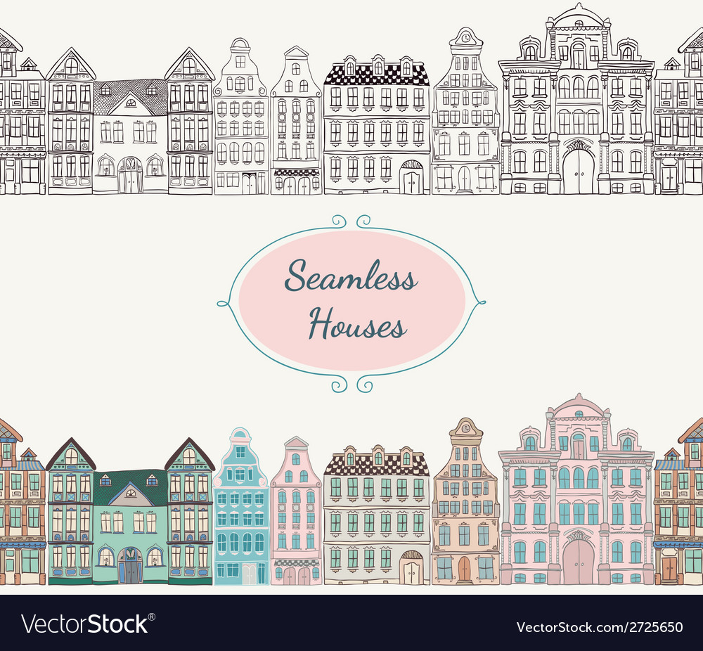 Seamless old styled houses vector | Price: 1 Credit (USD $1)