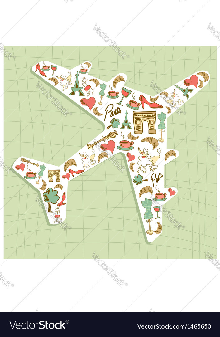 Travel paris icon set airplane vector | Price: 1 Credit (USD $1)