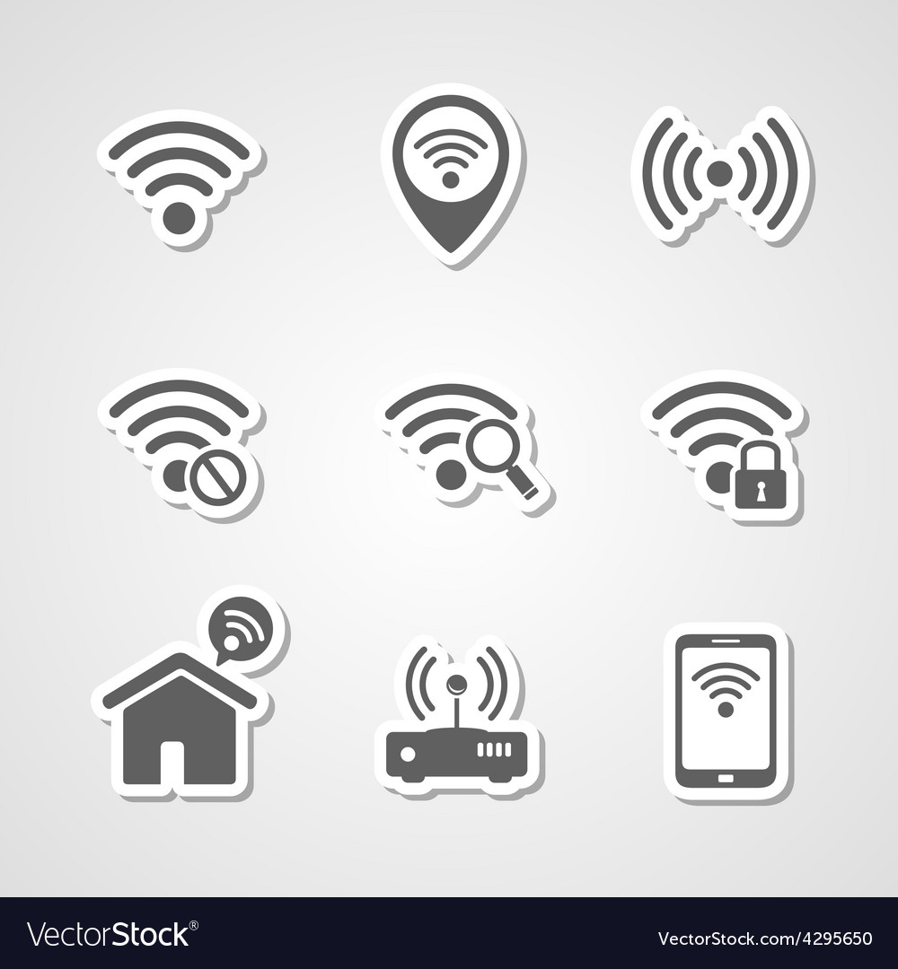 Wireless local network internet access point icons vector | Price: 1 Credit (USD $1)