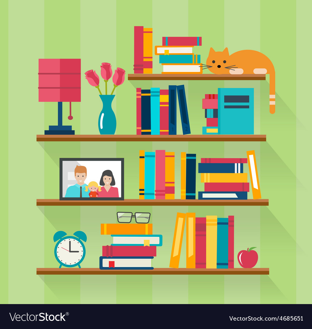 Bookshelves with books in room interior vector | Price: 1 Credit (USD $1)