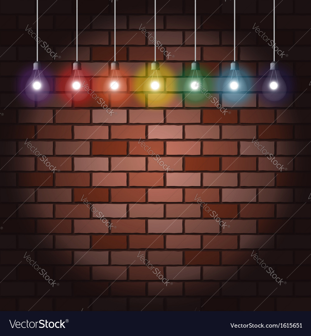 Brick wall and light bulbs vector | Price: 1 Credit (USD $1)