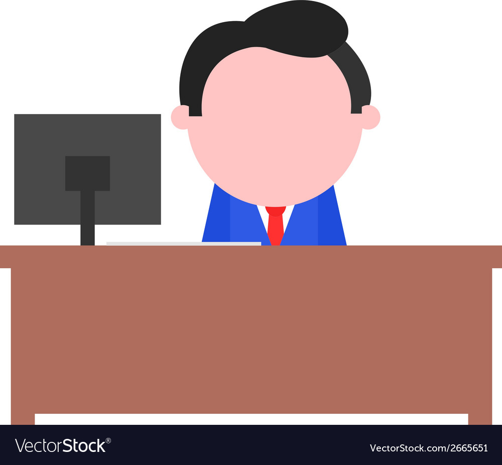 Businessman sitting behind desk vector | Price: 1 Credit (USD $1)