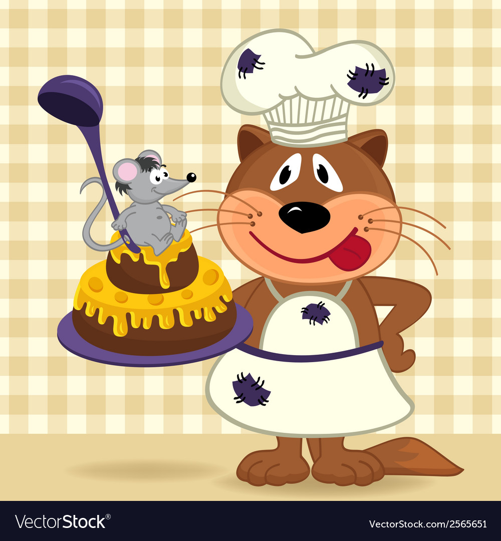 Cat chef prepare cake vector | Price: 1 Credit (USD $1)