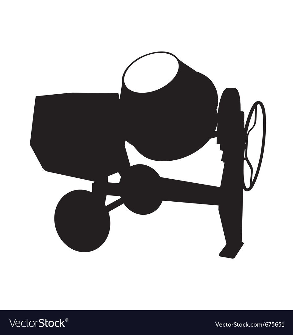 Cement mixer silhouette vector | Price: 1 Credit (USD $1)