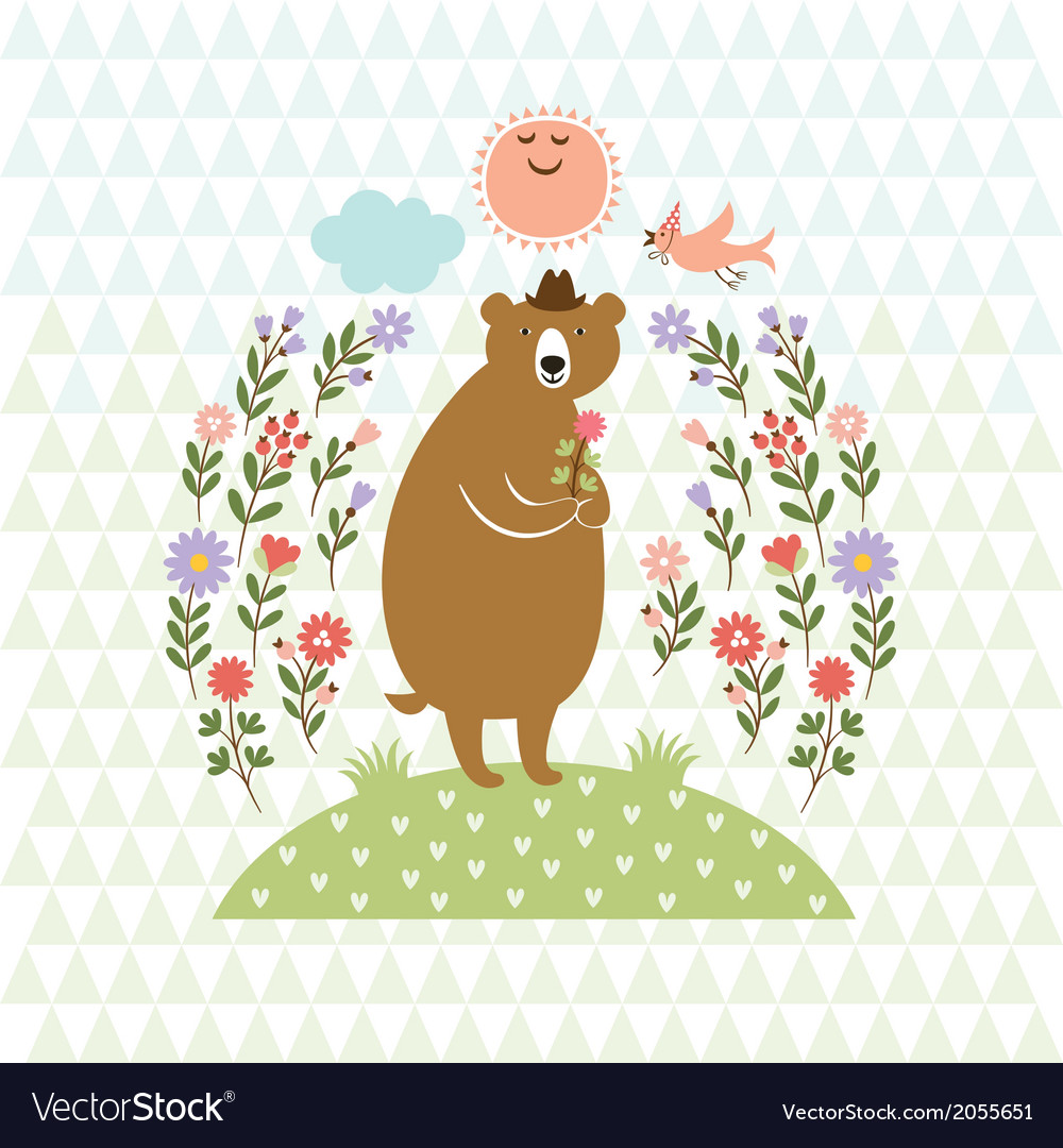Cute bear with flowers vector | Price: 1 Credit (USD $1)