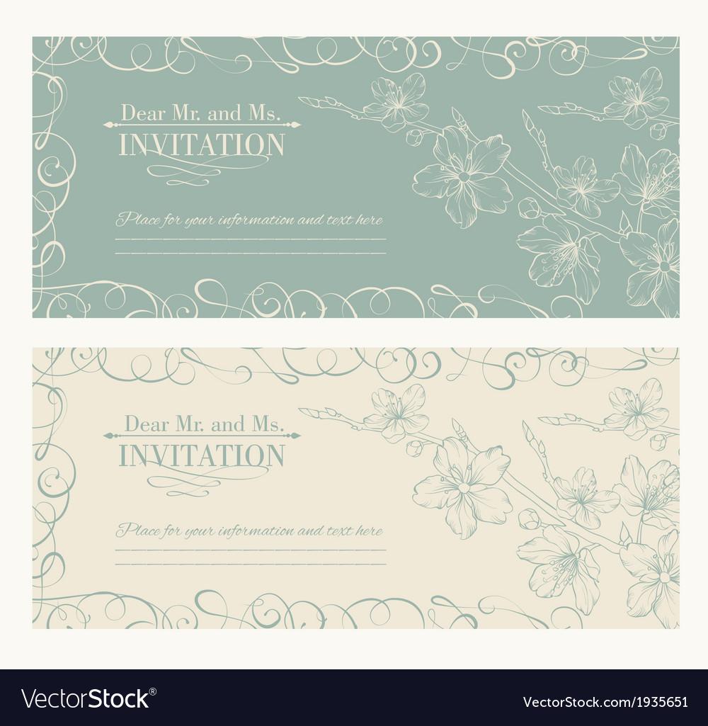 Decorative card with sakura vector | Price: 1 Credit (USD $1)