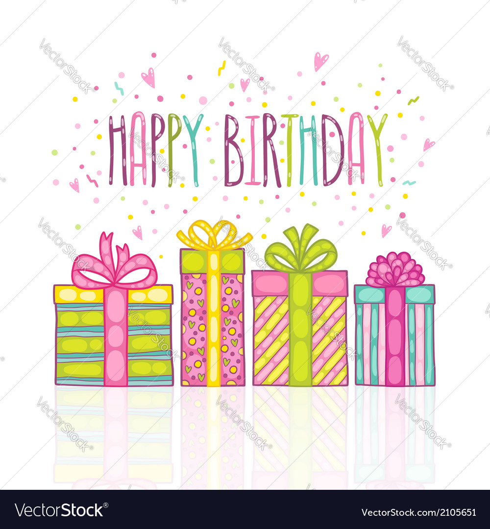 Happy birthday present gift box with confetti vector | Price: 1 Credit (USD $1)
