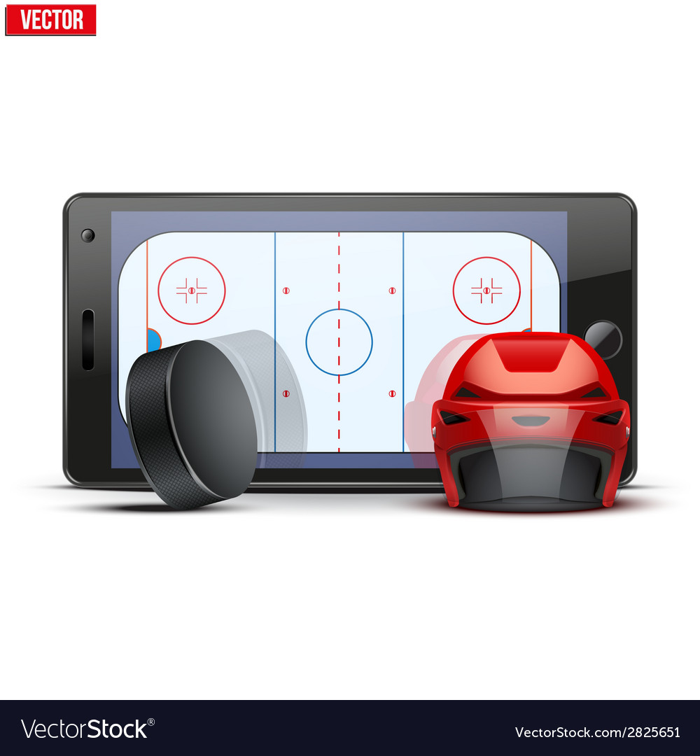 Mobile phone with ice hockey helmet puck and field vector | Price: 1 Credit (USD $1)