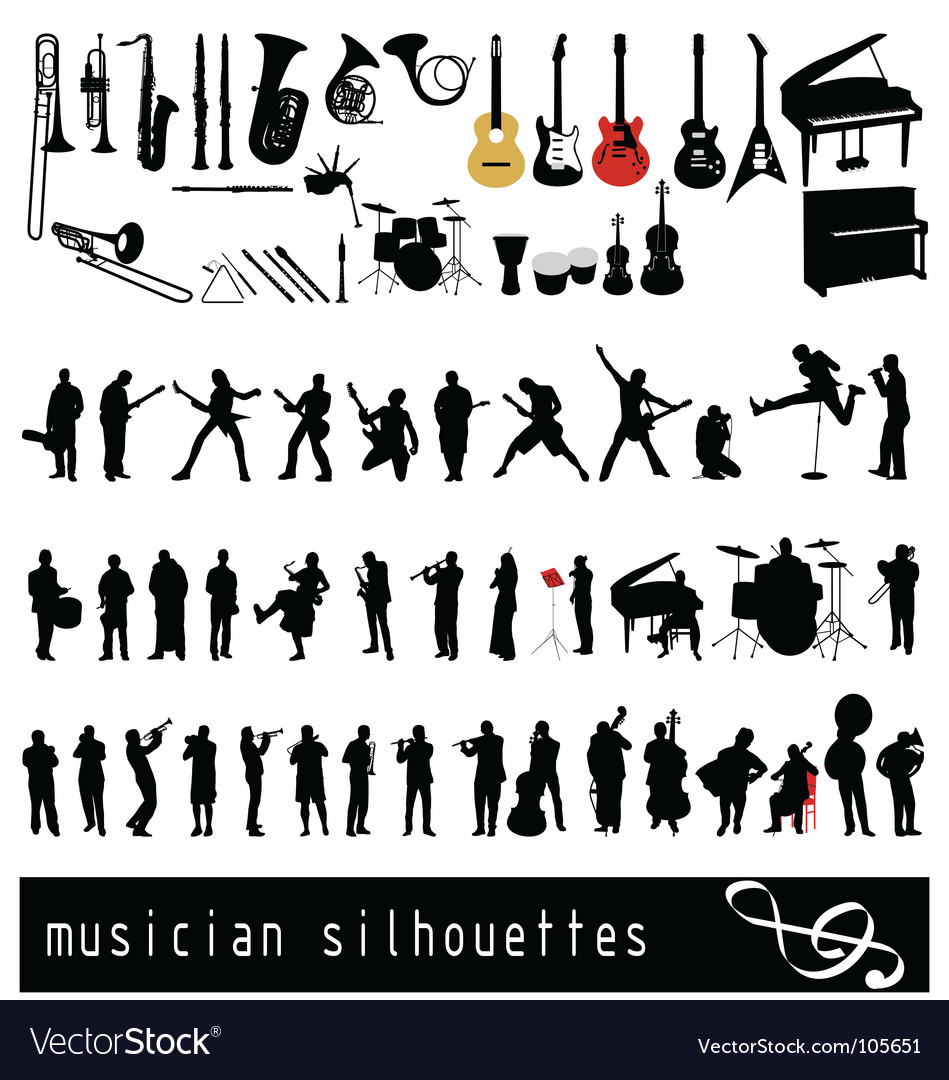 Musician silhouettes vector | Price: 1 Credit (USD $1)