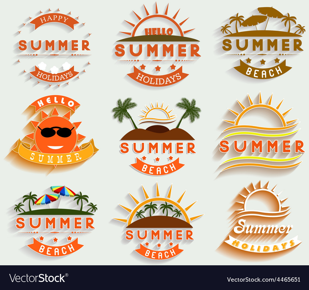 Retro summer holidays labels and signs desi vector | Price: 1 Credit (USD $1)