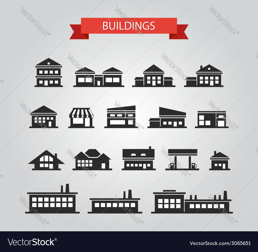 Set of flat design buildings pictograms vector | Price: 1 Credit (USD $1)